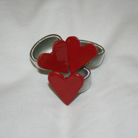Handmade ceramic red heart ring with silver plated ring back mothers day gift