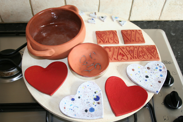 Handmade red heart shaped ceramic decoration for jewellery & candles