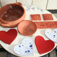 Handmade Valentine red heart shaped ceramic decoration for jewellery & candles