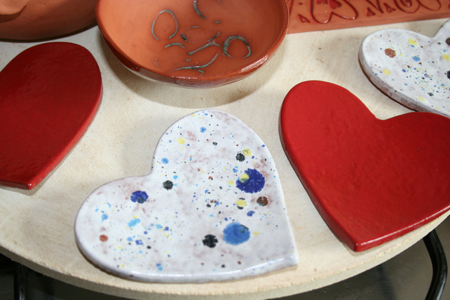 Handmade heart shaped ceramic decoration in white & mixed colours