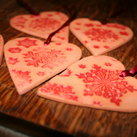 Christmas Handmade ceramic Red heart embossed with snow flake design decoration