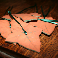 Handmade terracotta ceramic ivy leaf hanging decoration