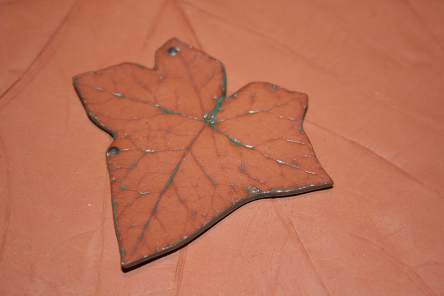 Handmade green ceramic Ivy leaf decoration