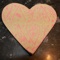 Handmade ceramic valentine heart dish decoration with pink heart detail