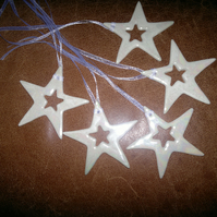 Porcelain paperclay handmade ceramic star with mother of pearl lustre