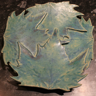 Handmade ceramic matt turquoise  blue leaf dish decoration