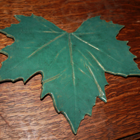 Handmade ceramic glazed green leaf decoration
