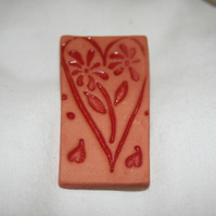 Handmade terracotta ceramic red impressed  heart brooch mothers day gift