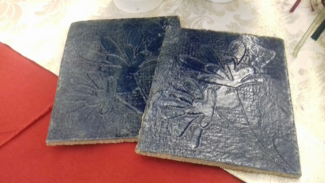 Handmade ceramic blue embossed tile coaster x 2