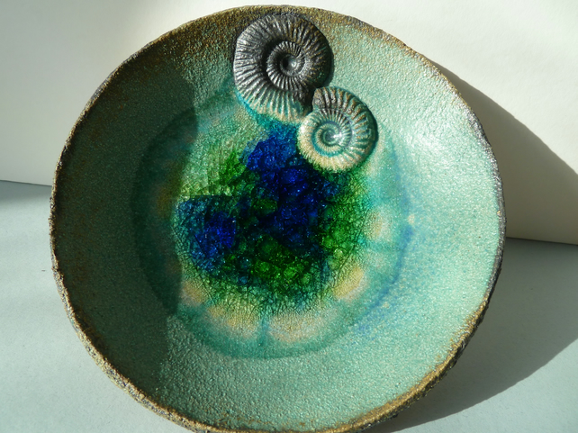 Turquoise blue and green ceramic bowl with recycled glass and ammonites