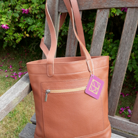 Brown Leather Tote Bag, Casual Bag, Work Bag, Student Bag, Shoulder Bag