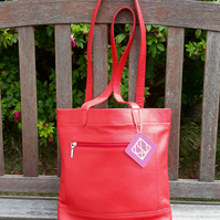 Red Leather Tote Bag, Casual Bag, Work Bag, Student Bag, Shoulder Bag