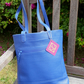 Blue Leather Tote Bag, Casual Bag, Work Bag, Student Bag, Shoulder Bag