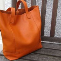 Orange Leather Shopper, Casual Bag, Work Bag, Student Bag, Shoulder Bag