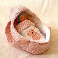 Small Pink  Doll's Carrycot with Free Doll