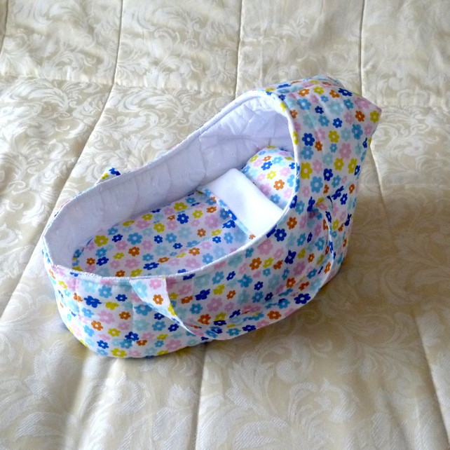 Doll's Carrycot multi-coloured suitable for 14 inch dolls