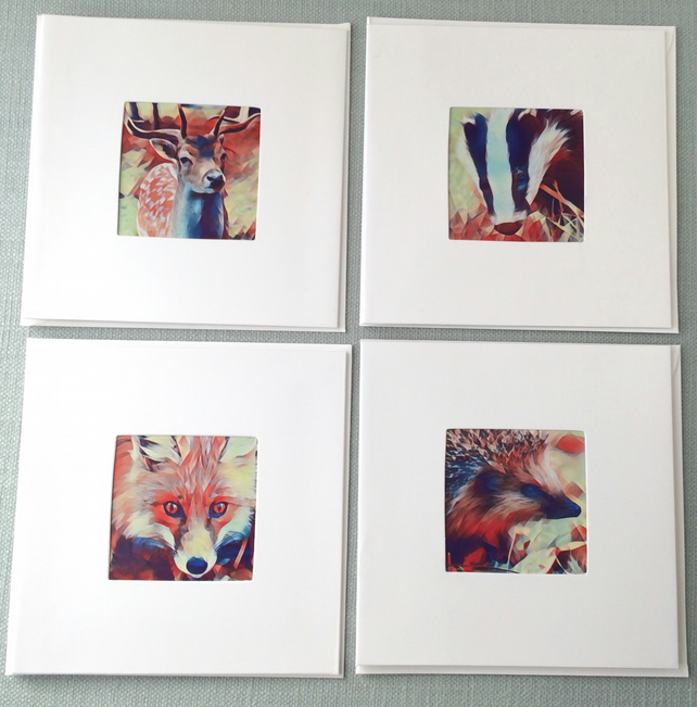 Set of 4 british wildlife greetings cards for any occasion