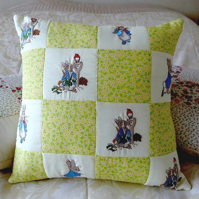 Machine embroidered Peter Rabbit  cushion