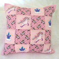 Unicorn machine embroidered patchwork  Cushion