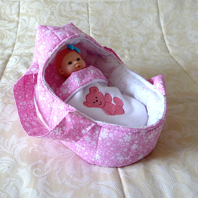 Small Doll's Carrycot with Free Doll
