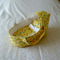 Doll's Carrycot with daisy design suitable for 14 inch dolls