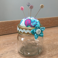 Pin Cushion Jar with flower