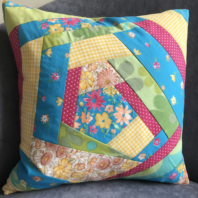 Crazy patchwork cushion in bright, sunny colours