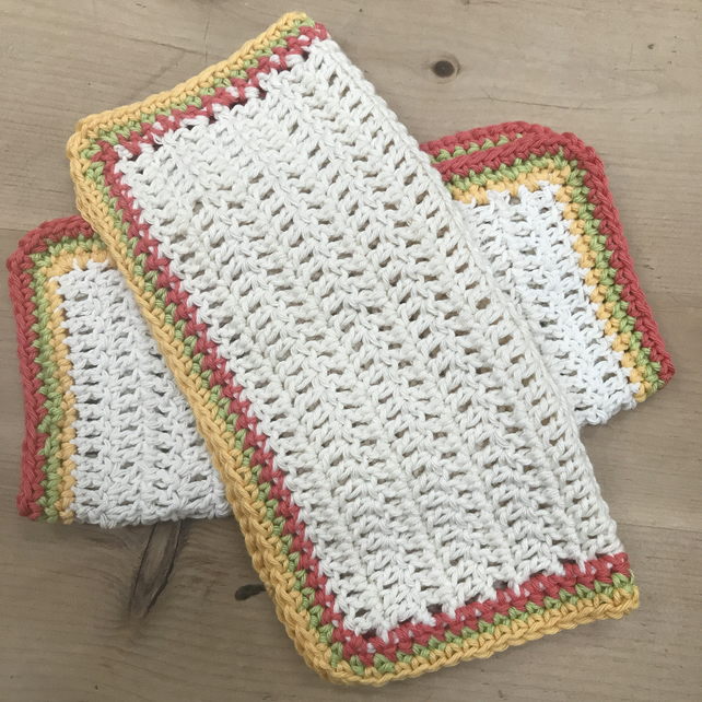 Crochet cotton dishcloths or washcloths
