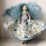Peg doll with ditsy dress and vintage lace