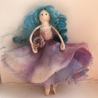 Peg doll in purple silk and vintage lace