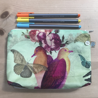 Linen zip pouch with exotic birds