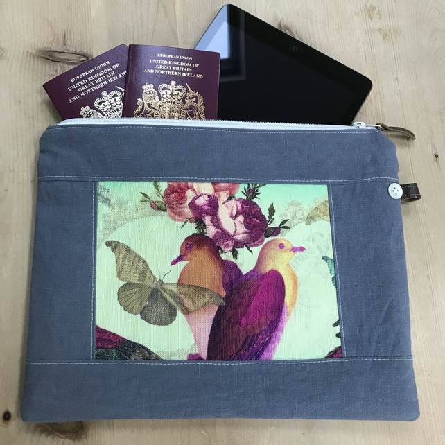 Zip Pouch Organiser with Exotic Birds