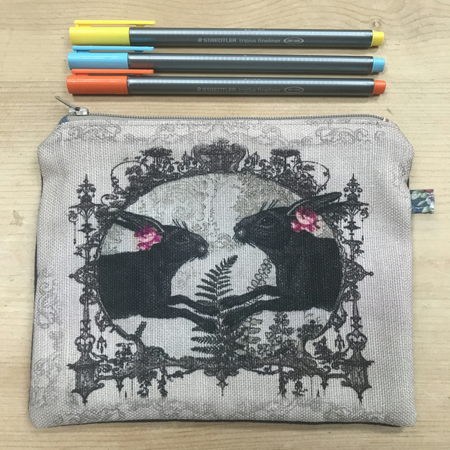 Hare zip pouch, makeup bag