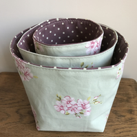 3 nesting fabric storage baskets