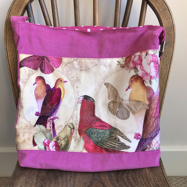 Cross body bag with exotic birds