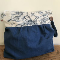 Soft blue linen and vintage floral zip bag