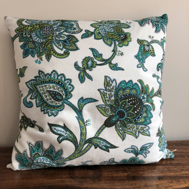 Vintage cotton and denim cushion cover