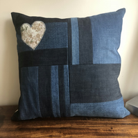Patchwork denim and vintage Sanderson cushion cover