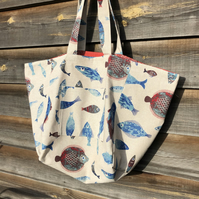 Reversible bag in fish print and vintage fabric - free UK postage