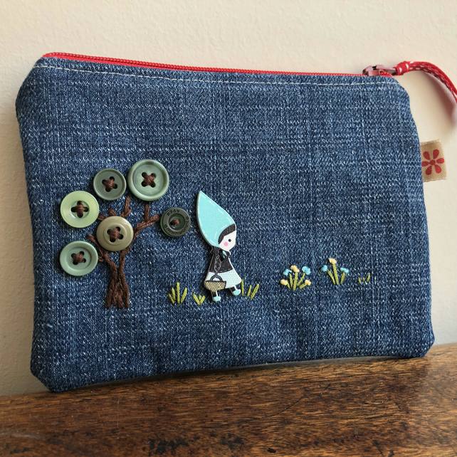 Button and embroidery recycled denim purse