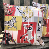 Vintage zoo print cushion cover