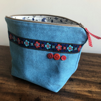 Recycled denim and vintage braid zip bag