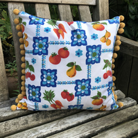 Patchwork recycled denim and vintage fabric cushion