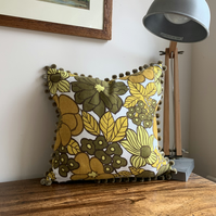 Retro yellow cushion cover