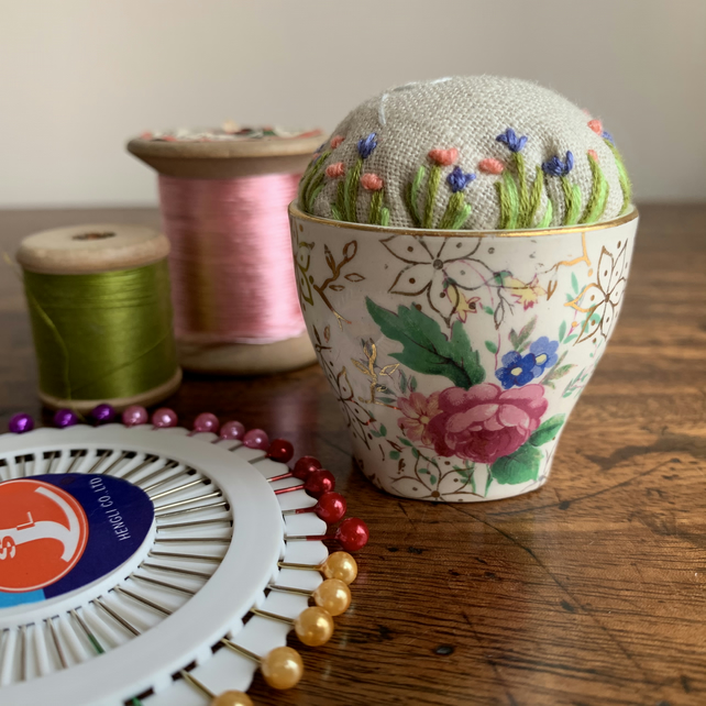Vintage egg cup embroidered pincushion