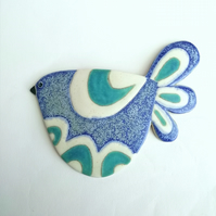 Pottery bird wall plaque