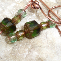 Green and aquamarine glass earrings.