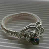 SALE Silver wire wrapped chalcopyrite ring.