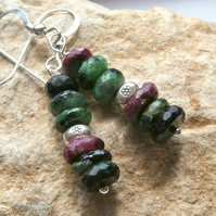 Ruby Zoisite silver earrings.