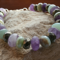 Bracelet Pyrite,Amethyst and Opal